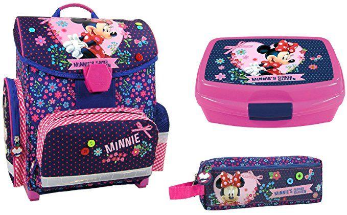 cb17626d5994c Disney Minnie Mouse Schulranzen Mädchen 1 Klasse Tornister Schulrucksack  Schultasche SET 3 teilig für Grundschule super