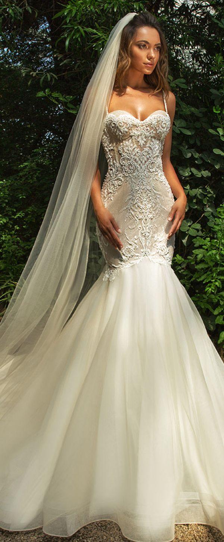 Beaded spaghetti strap wedding dresses  Amazing Tulle Spaghetti Straps Neckline Mermaid Wedding Dress With