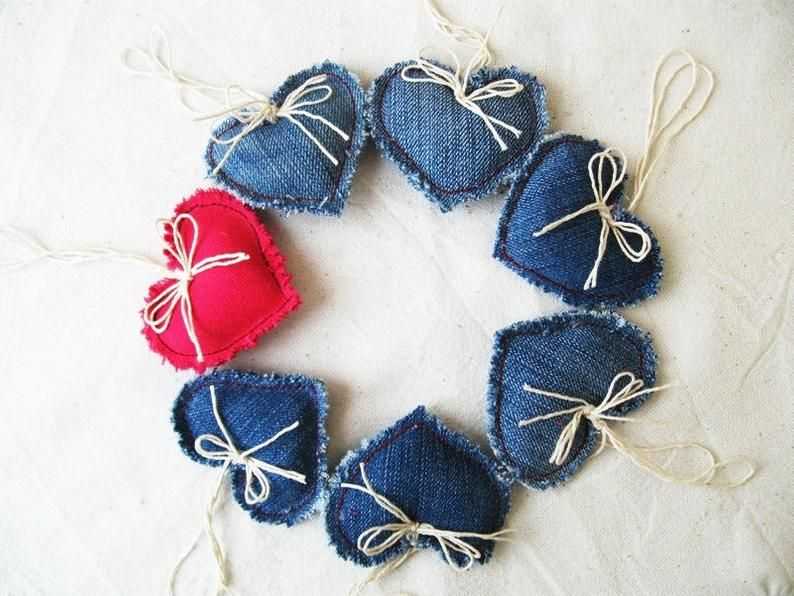 7 Denim Handmade Hearts, Party decor in 2020 Shabby chic
