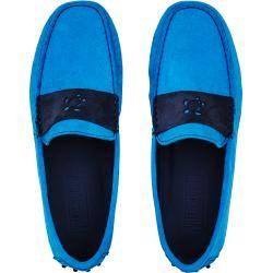 Accesorios para hombres – Mocasines de ante súper suaves para hombres – Zapatos – John – Azul – 42 – Vileb