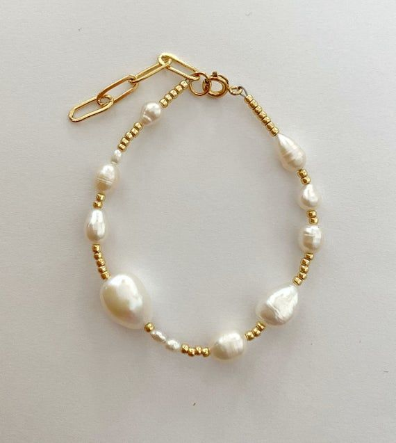 Photo of beaded Pearl bracelet/Pearl gold bracelet/Multi Pearl bracelet/Sea Pearl bracelet/freshwaterpearl br