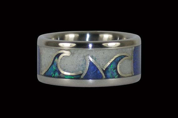 Sharks Fin Blue Opal and White Coral Ring