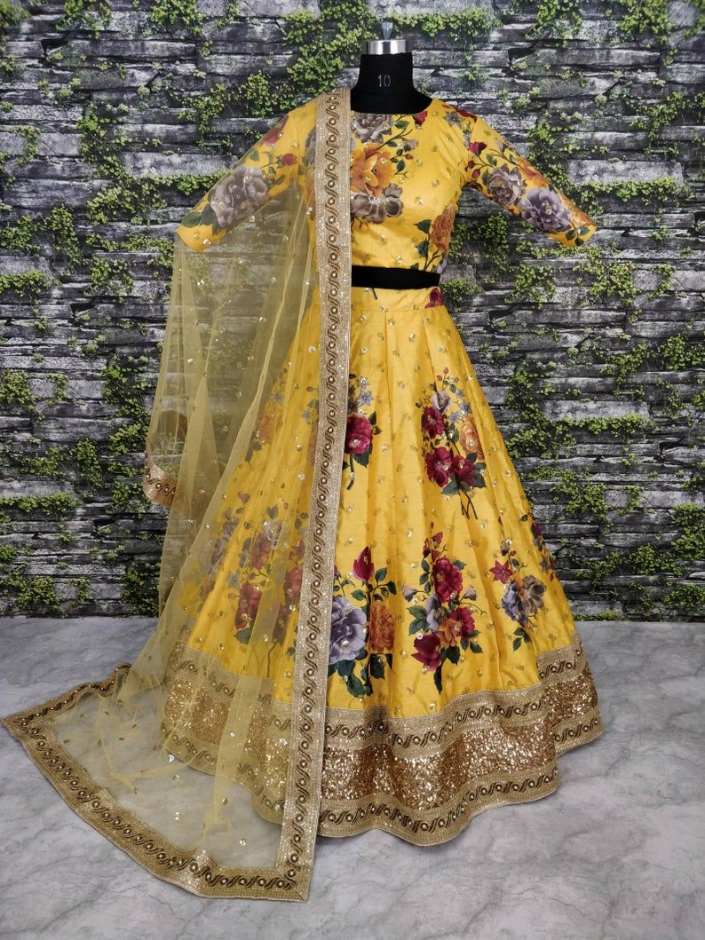 Bridal Wedding Outfit Etsy Shop Yellow Net Bridal Lehenga Choli in Embroidered Work for wedding wear for UK women Boutique