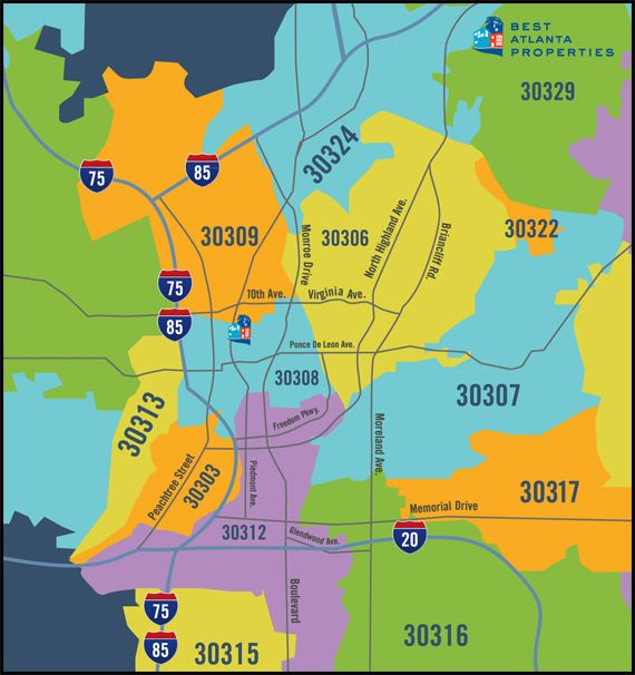 Zip Code Map Atlanta Search Intown Atlanta Real Estate Listings By Zip Code Map