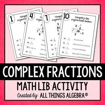 Complex Fractions Math Lib in 2018 | FRACTIONS | Pinterest | School ...