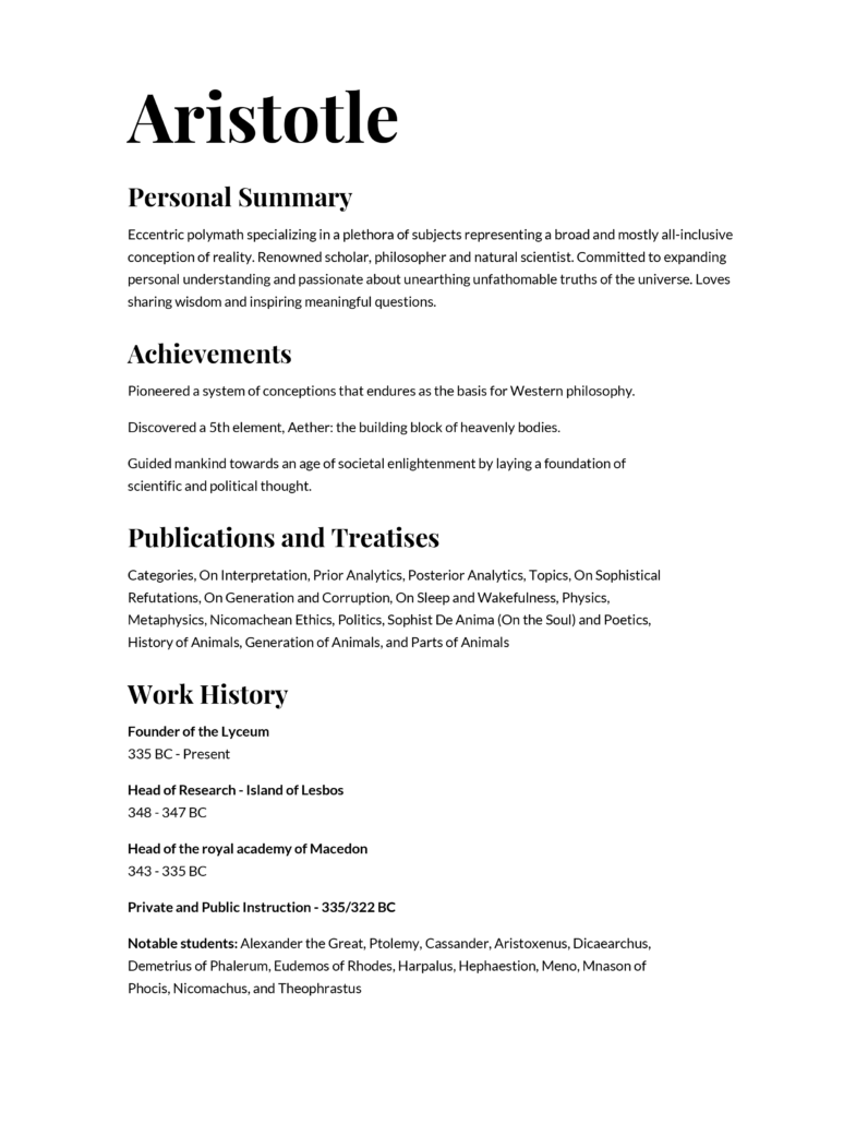 aristotle resume