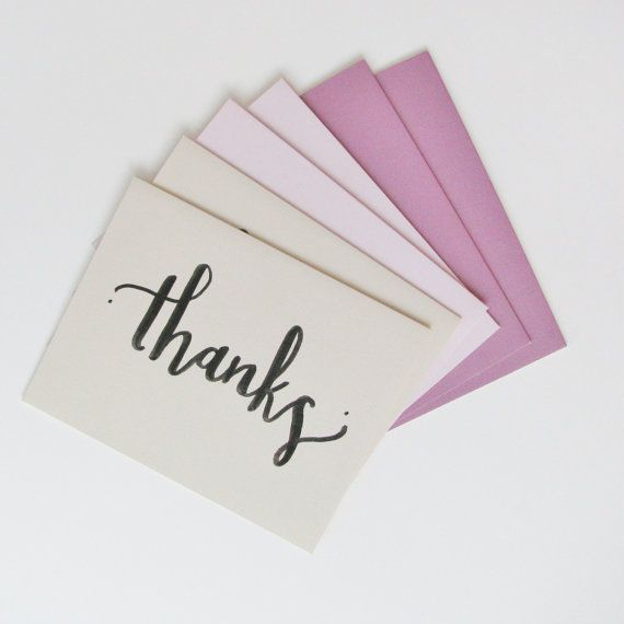 Thanks Purple Note Card Set Handlettered by KimberlyCollection