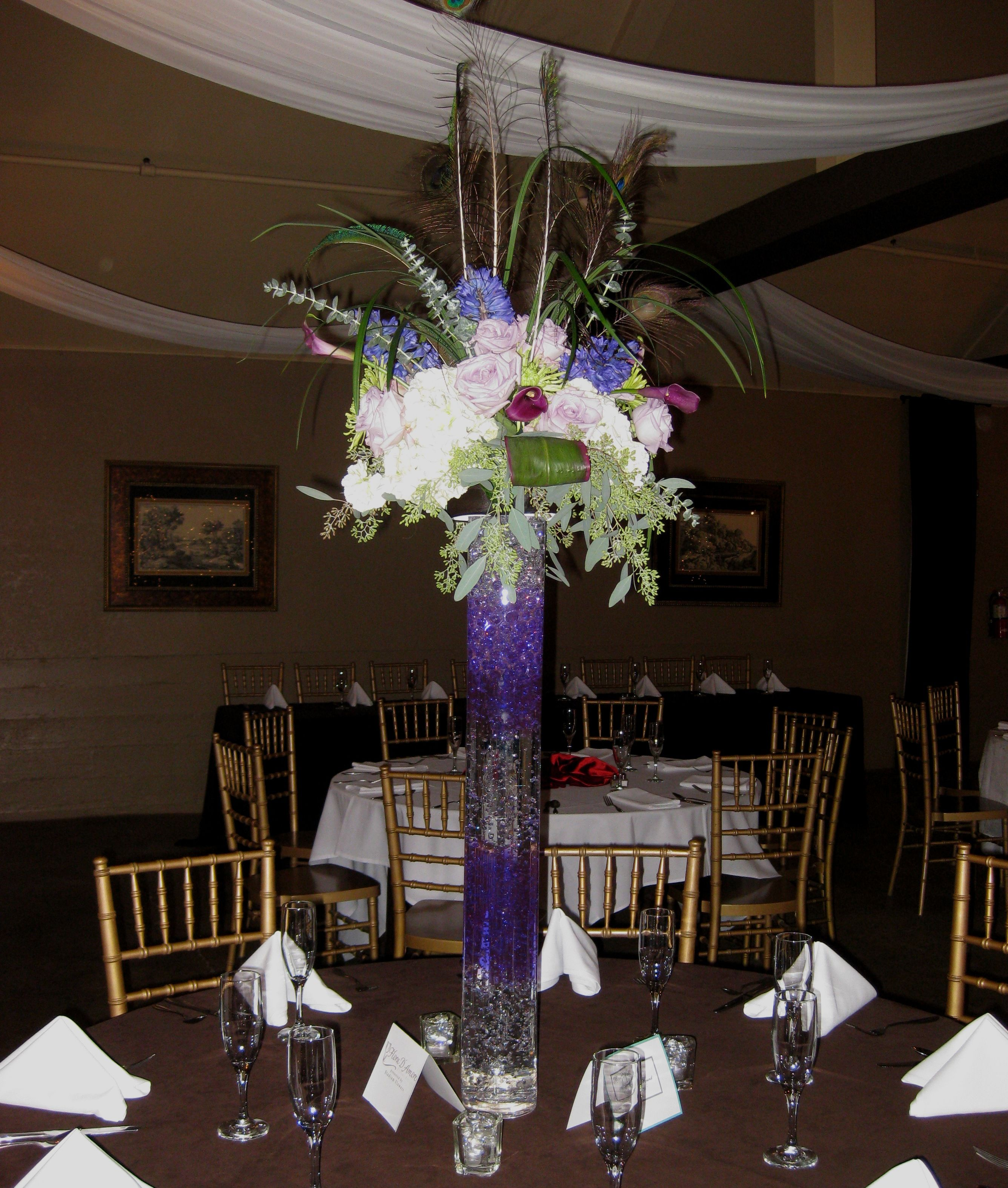Tall purple wedding centerpieces