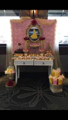 Beauty and the Beast Belle themed Bridal Shower, Wedding, Birthday, or Sweet Sixteen Caramel Pretzels Cake Pops Chocolate Covered Oreos, Chocolate Covered Strawberries, Cream Cheese Flan Dessert Shooters, Sugar Cookies and Rice Krispy Krispies Treats Dessert Table  Etsy.com/shop/candysimply