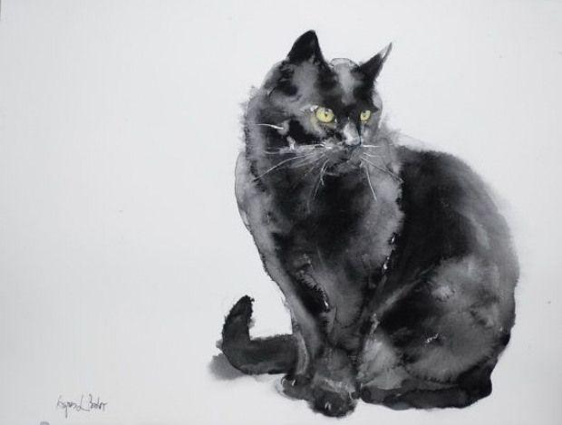 Chat noir  peinture à l