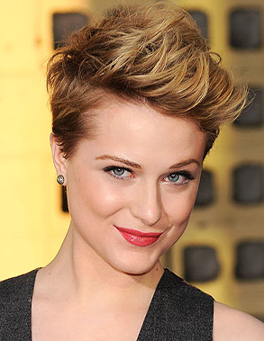 Evan Rachel Wood. Two gutsy styles, very short sides, and the full brush back held with sprays and gels. With jewelry, beautiful makeup, looks feminine and lovely. Worn down: tomboyish, edgy style.