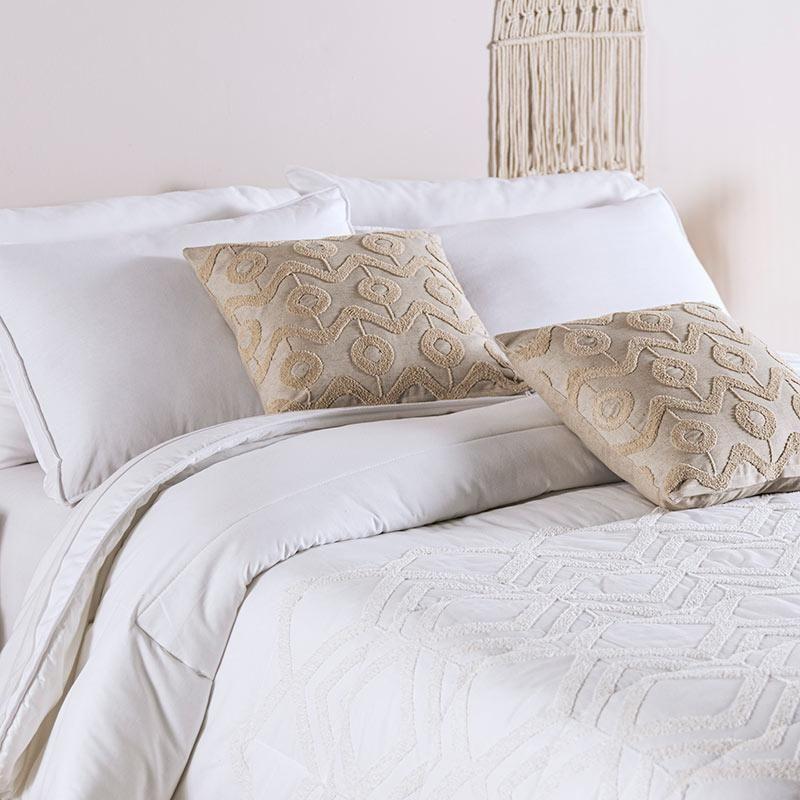 Boho Chic Ivory Textured 100% Cotton Comforter Set