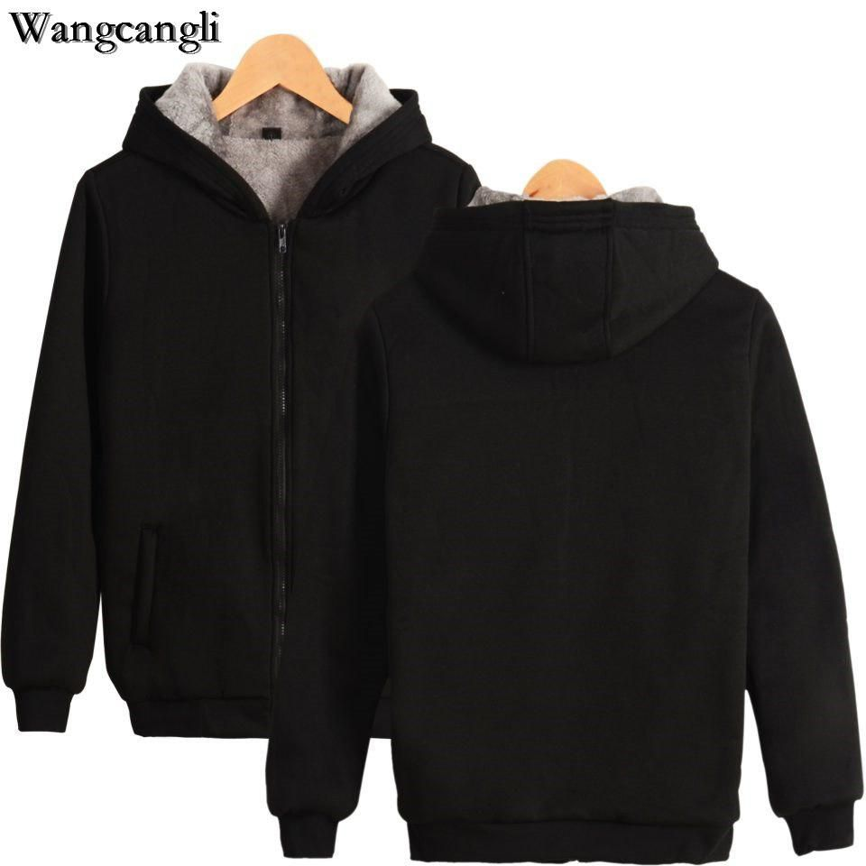 WNSY Men Stylish Hooded Fleece Warm Thickened Solid Color Sweatshirt