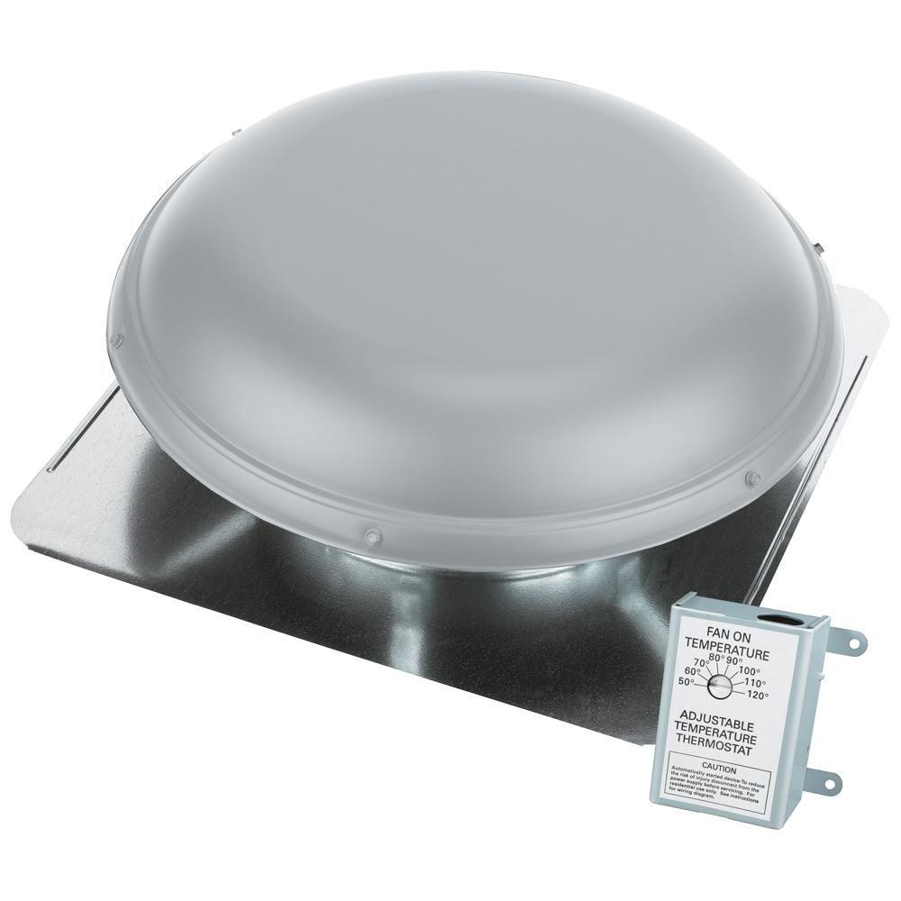 Air Vent 1320 Cfm Aluminum Finish Power Roof Mount Attic Ventilator Rv28ml Solar Attic Fan Attic Vents Air Vent