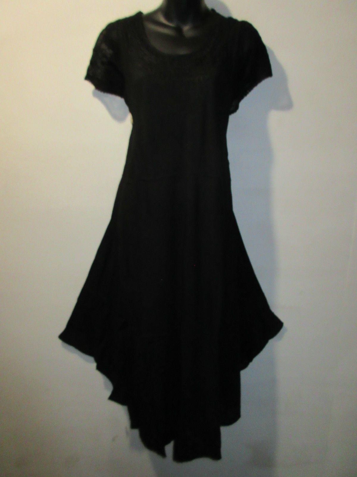 Dress fits x x x x plus long tunic black embroidery cotton