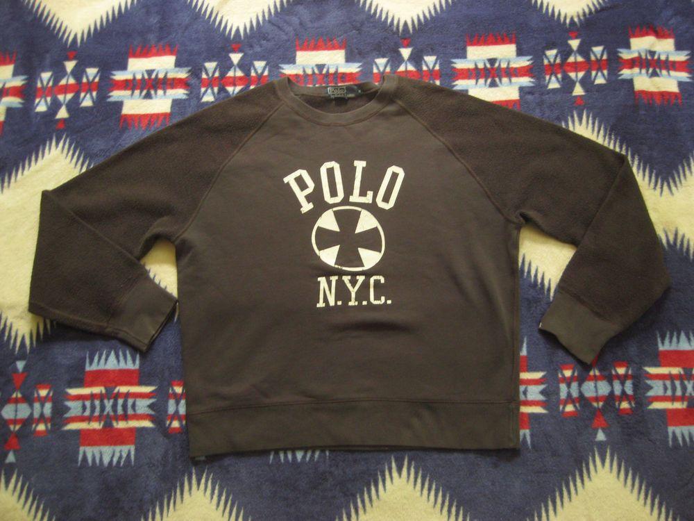 Vtg Polo Ralph Lauren P Wing Stadium Zip Sweatshirt PRL Sweater M Indian Bear #PoloRalphLauren #SweatshirtsFleeces