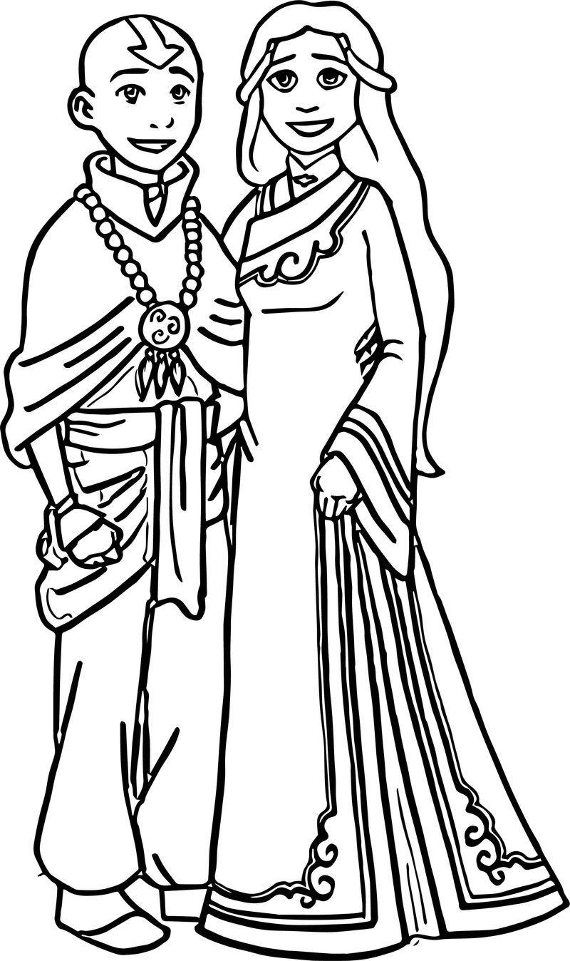 Katara And Aang True Love Avatar Aang Coloring Page