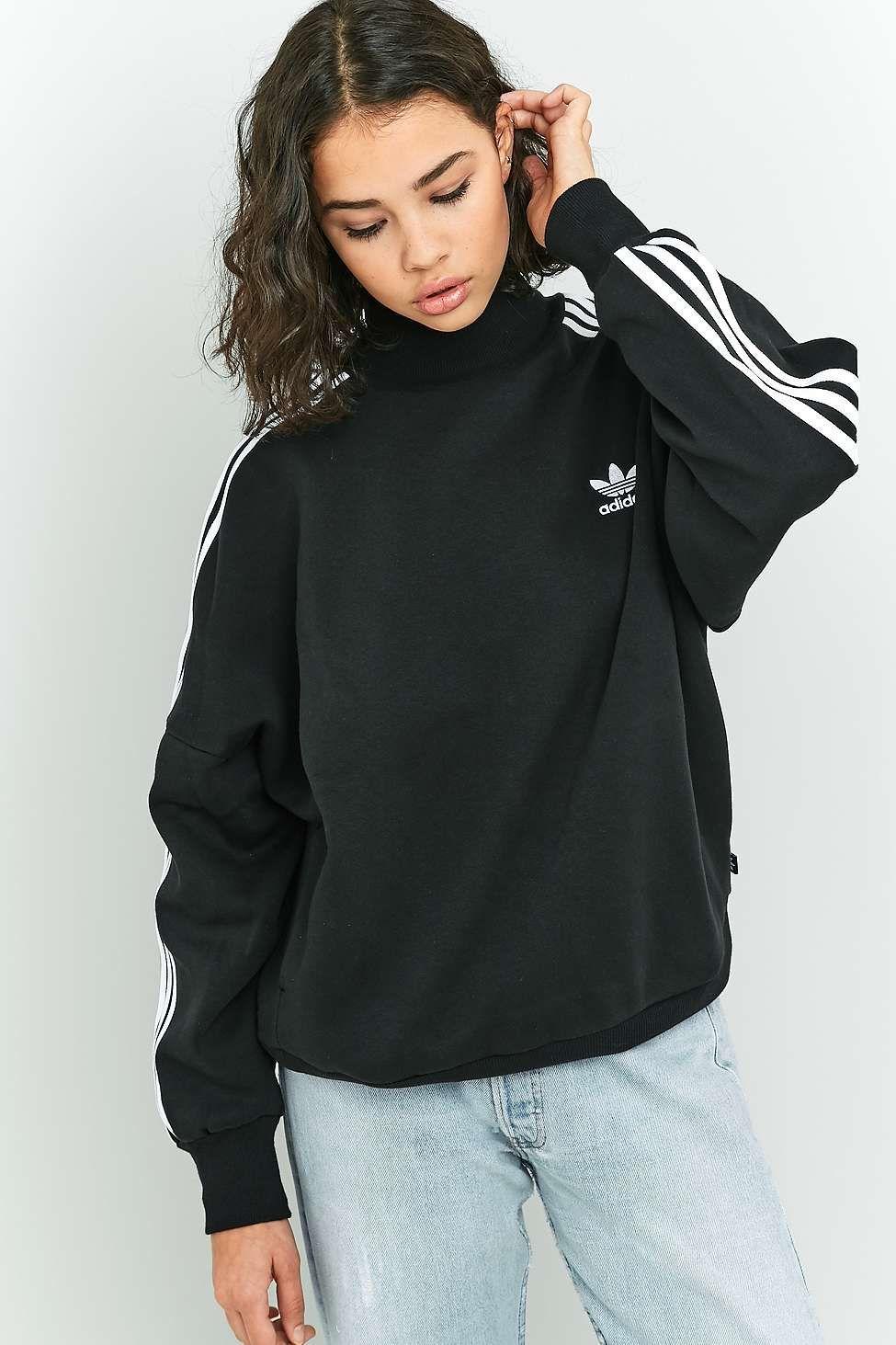 e3734bb14f379d Adidas Originals 3-Stripe Black Turtleneck Sweatshirt | Clothing ...