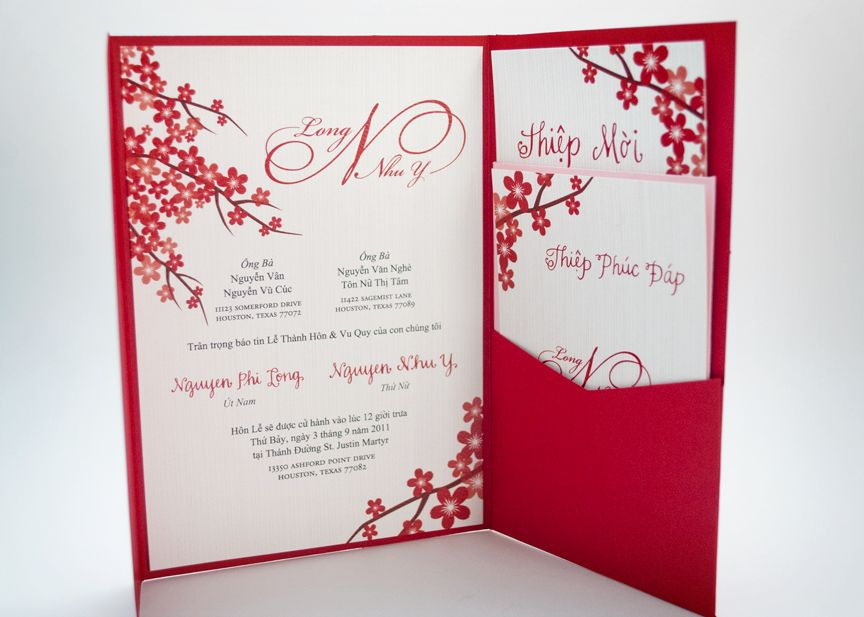 Red Vietnamese Wedding Invitation after the yes