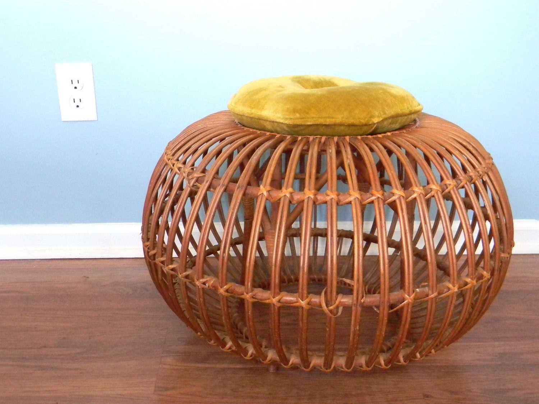 Vintage Rattan Ottoman Stool Chair Round Pillow Retro Franco Albini.  $197.00, Via Etsy.