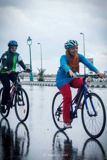 Muslimah Cycling In The Early Morning