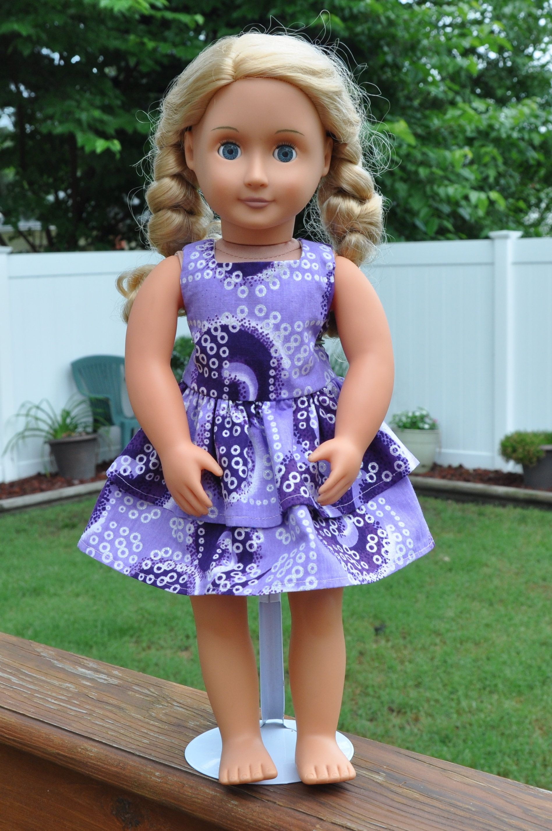 Fun purple and white dress for 18 inch dolls, fits American Girl and ...
