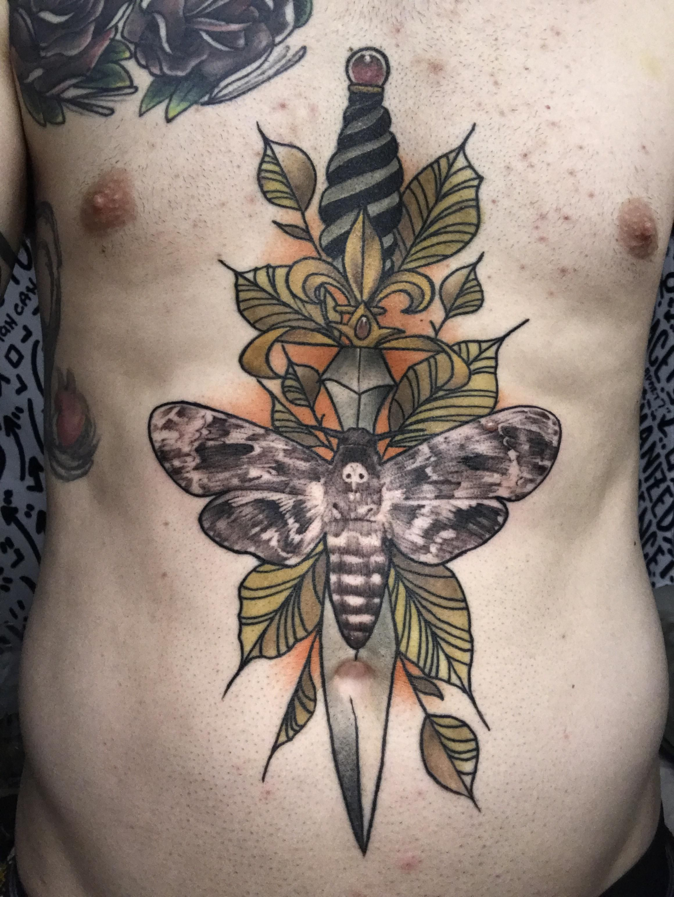 Deaths head moth by Keith Smith. Electric Chair tattoo