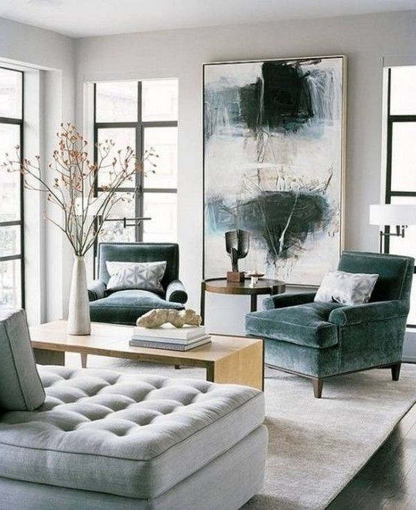 Modern chic living room design with a white, beige, and gray color ...