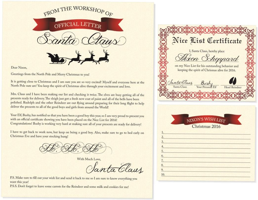 Letter to santa letter from santa christmas nice list letter to santa letter from santa christmas nice list certificate wish list spiritdancerdesigns