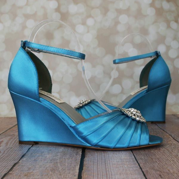 Blue Wedding Shoes Wedge Bridal Heels With Ankle Strap And Silver Crystal Oval Adornment