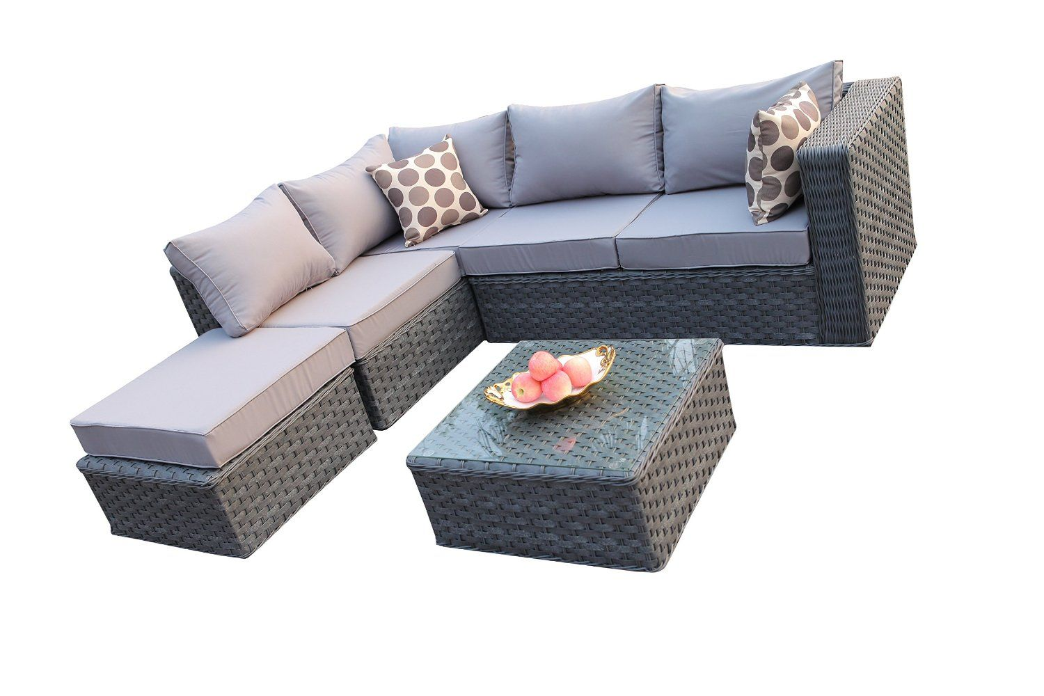 Yakoe Conservatory Modular 5 Seater Rattan Garden Corner Sofa Furniture Set Grey Rattan Garden Corner Sofa Rattan Furniture Set Lounge Set Garden