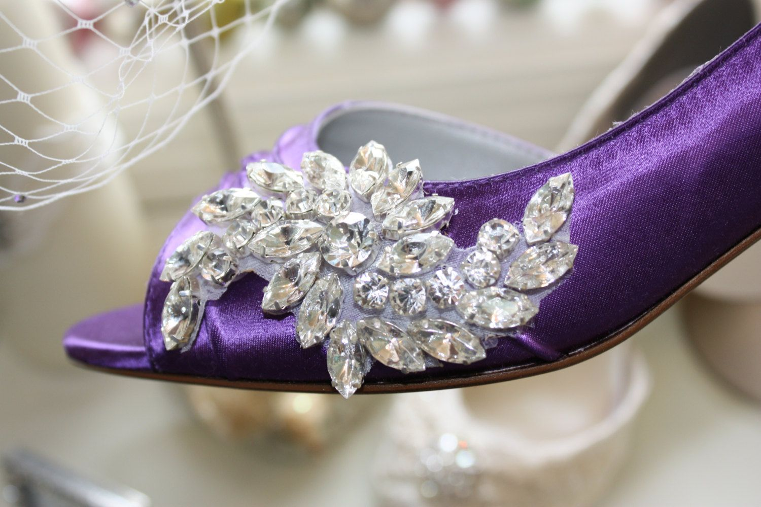 Purple Wedding Shoes  Crystal Shoes  Purple Wedding  by Parisxox, $184.00