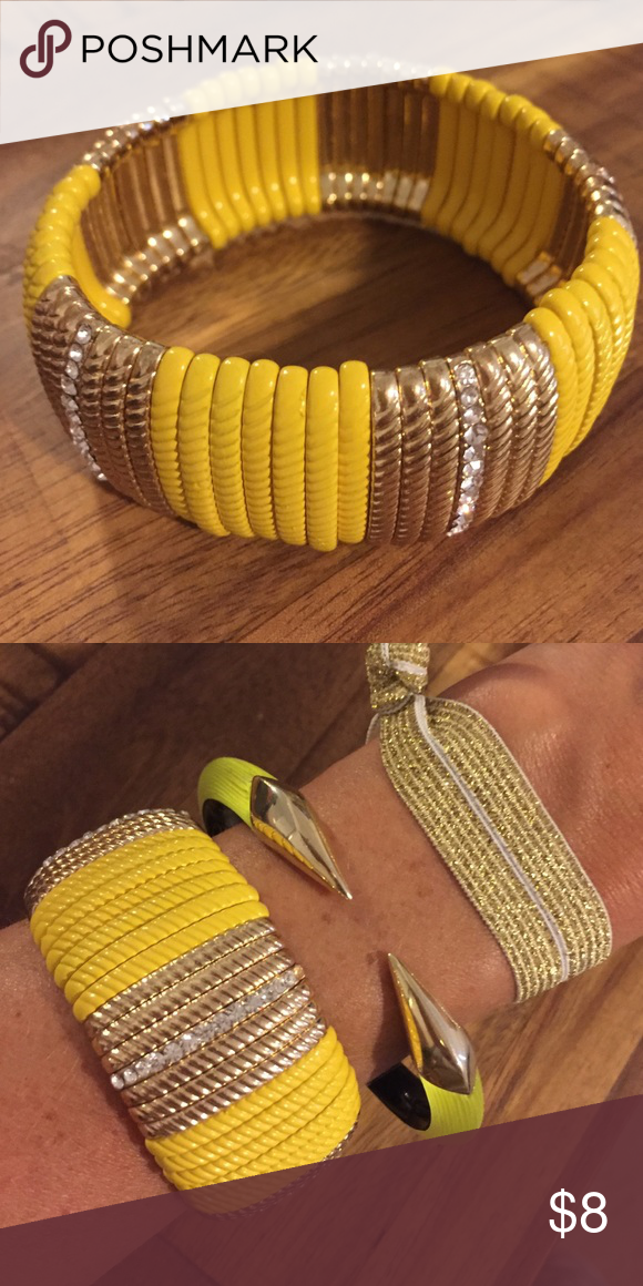 Yellow and silver stretchy bangle with rhinestones Yellow and silver stretchy bangle with rhinestone detail. Never worn. Perfect condition. Jewelry Bracelets