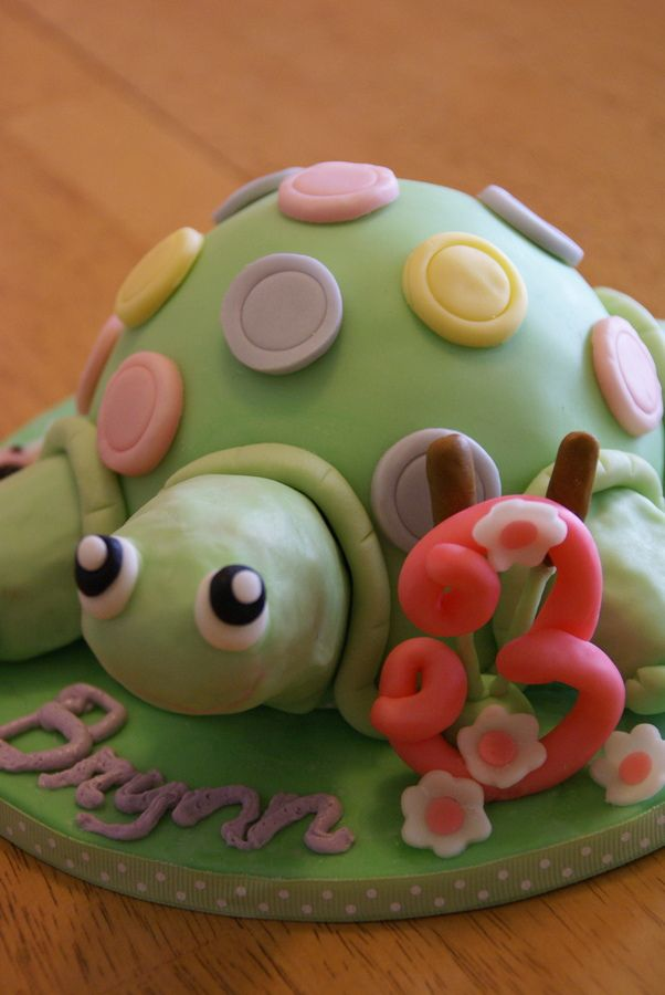 Turtle Cake Birthday For 3 Year Old Girl Who Loves Turtles Cakepins