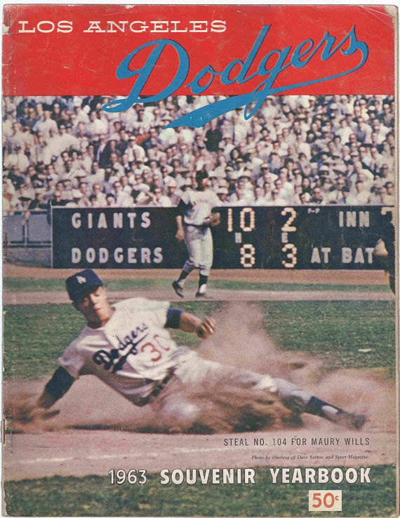 Los Angeles Dodgers 1963 Official Souvenir Vintage Yearbook Etsy Los Angeles Dodgers Maury Wills Dodgers