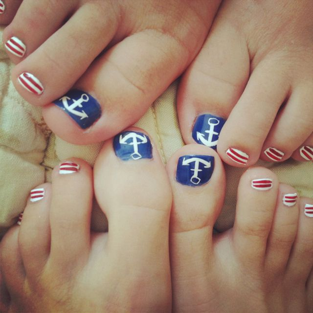 Cute Anchor Toe Nails For 4th Of July Cute Nails Ideas Pinterest