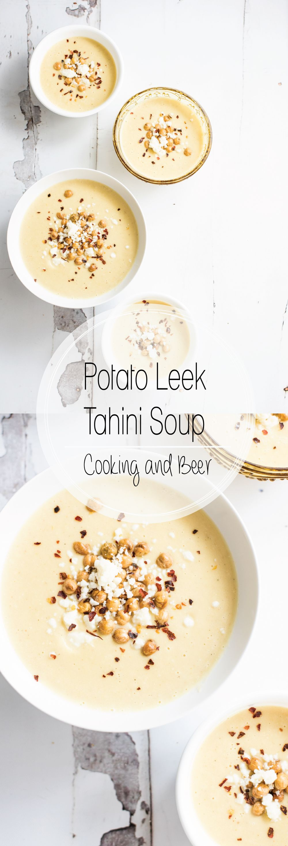 Potato leek tahini soup is a comforting way to spend your winter dinners. It is like potato leek soup and hummus soup came together in one delicious bowl!