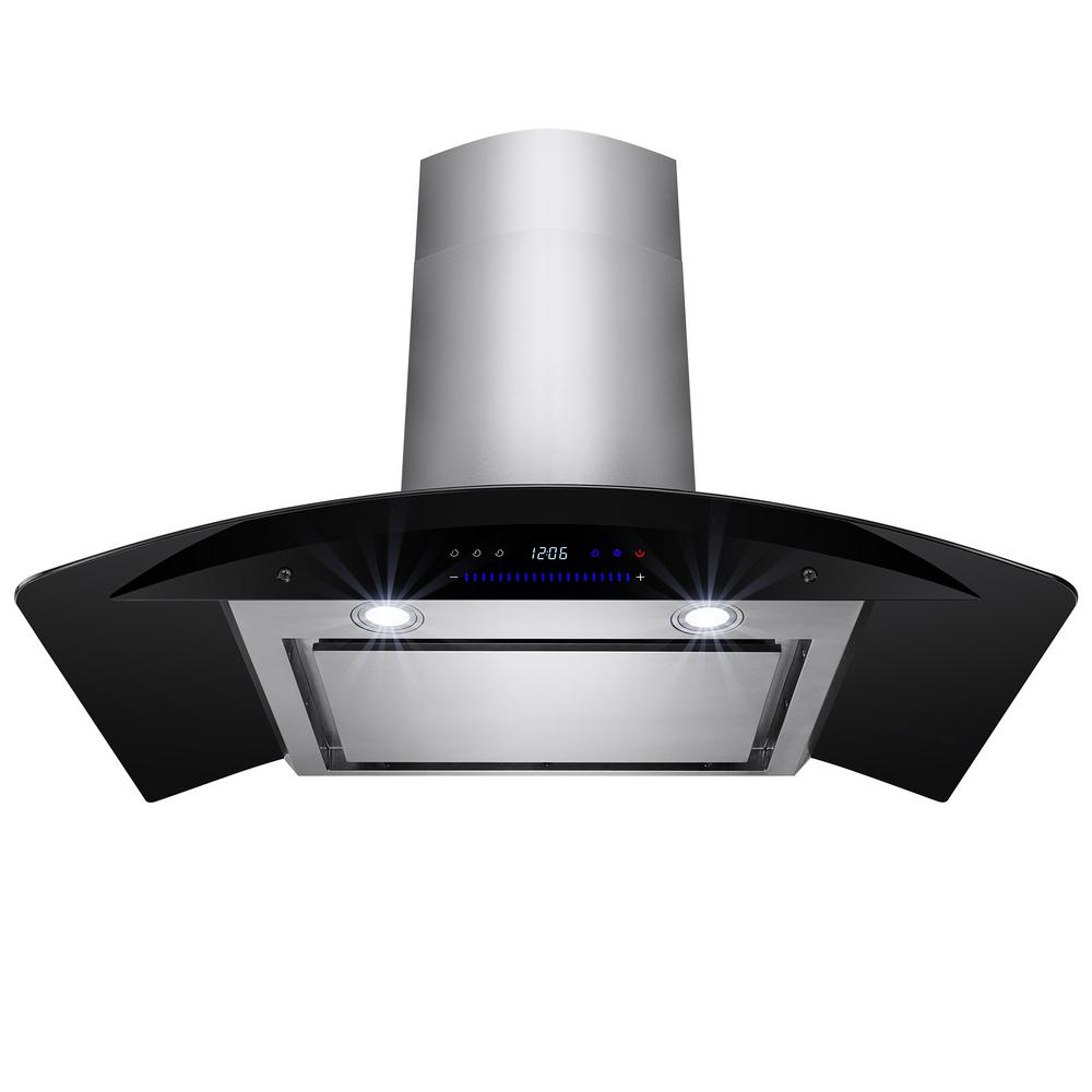 Akdy 36 In Convertible Kitchen Wall Mount Range Hood In Stainless Steel With Black Tempered Glass And Touch Controls Rh0187 1 The Home Depot Wall Mount Range Hood Range Hood Tempered Glass