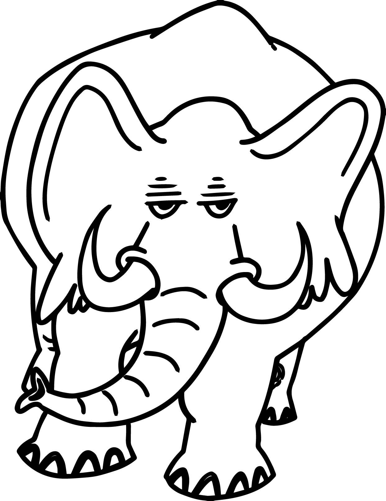 Awesome Angry Heavy Elephant Coloring Page