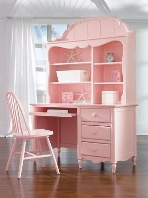 Perfectly PINK desk hutch set for a little girl's room