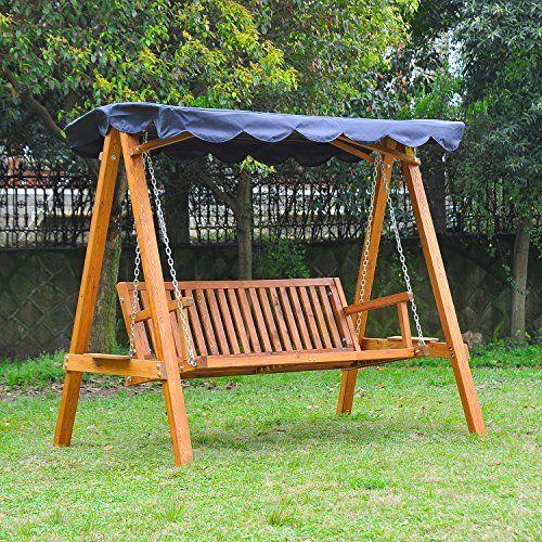 Amazon.de: Outsunny® Hollywoodschaukel Mit Sonnendach 3 Sitzer  Gartenschaukel Schaukelbank Schaukel Aus Holz