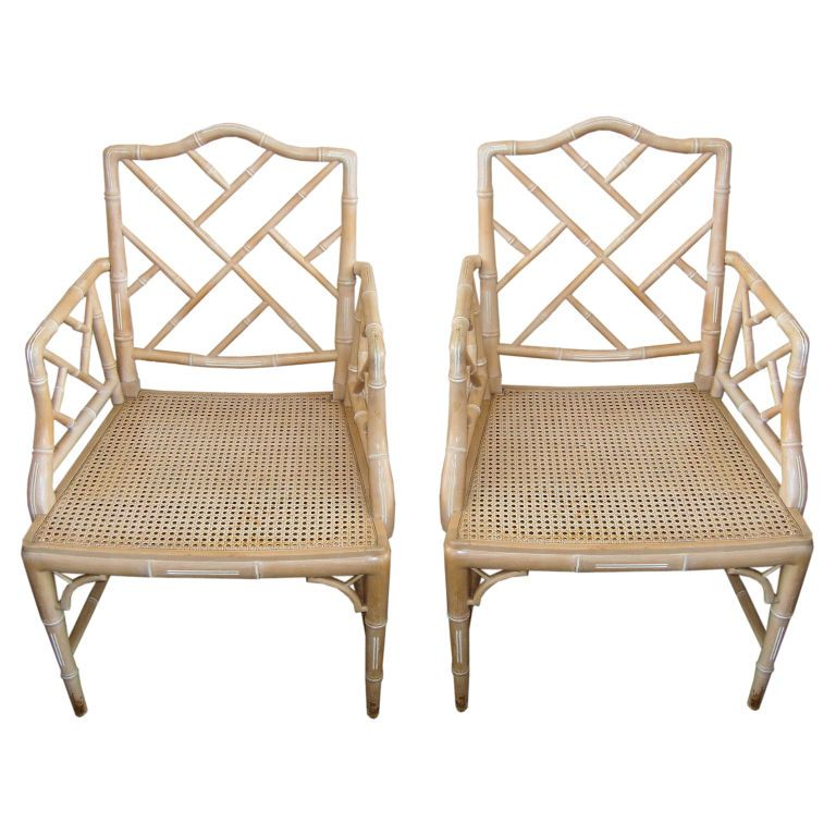 Merveilleux Pair Of Vintage Faux Bamboo Chippendale Chairs