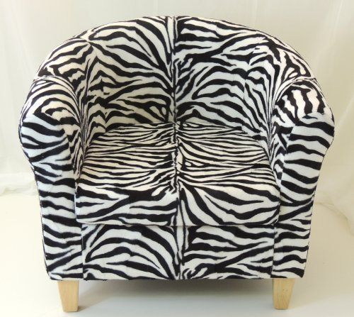 ZEBRA FAUX FUR TUB CHAIR WITH BEECH LEGS By Tiger
