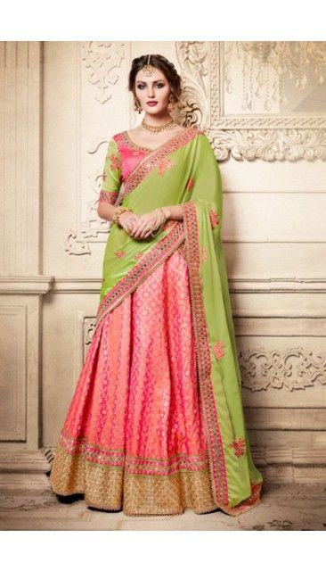 5df095a64e Pink Brocade Lehenga With Dupion Choli - DMV11806 | Party Wear ...