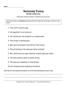 Worksheets Oxymoron Worksheet collection of oxymoron worksheets sharebrowse worksheet photos beatlesblogcarnival