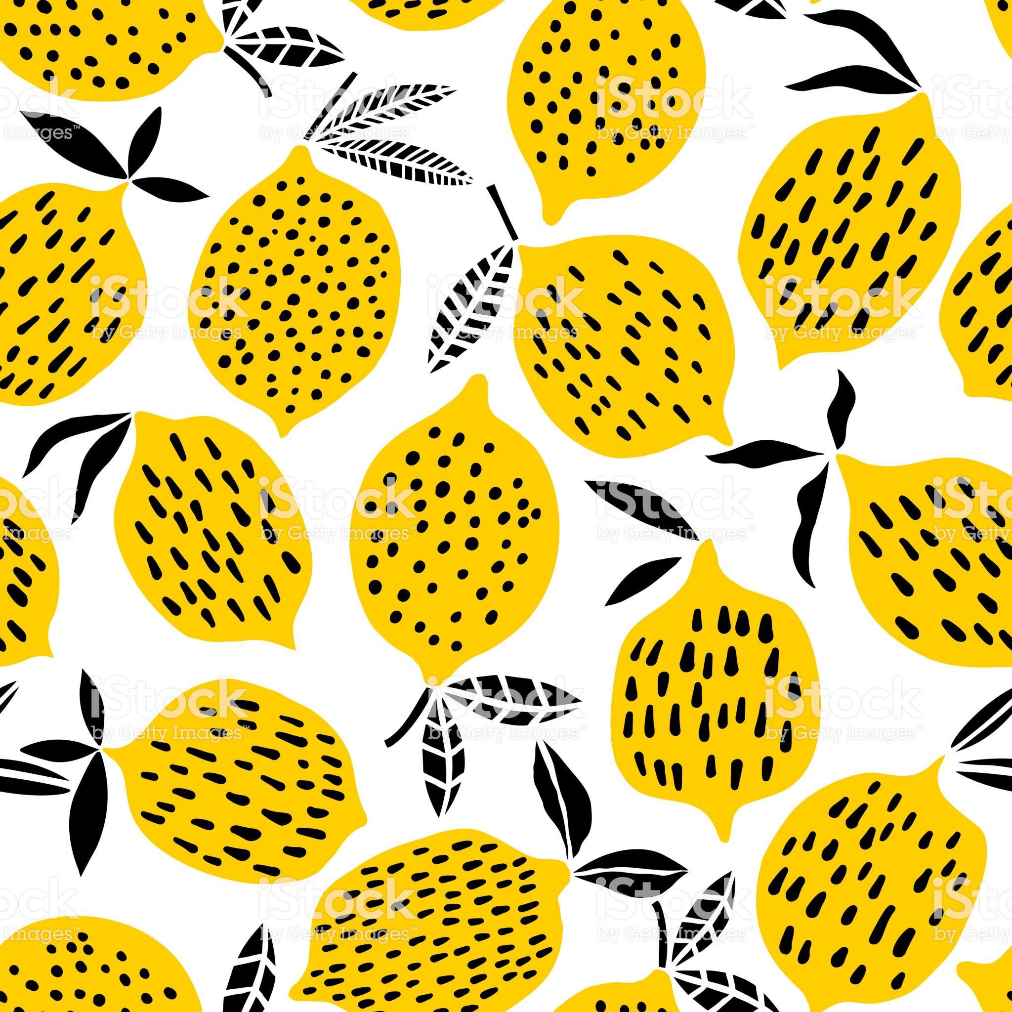Lemon Seamless Pattern Vector Illustration Summer Fruit Design