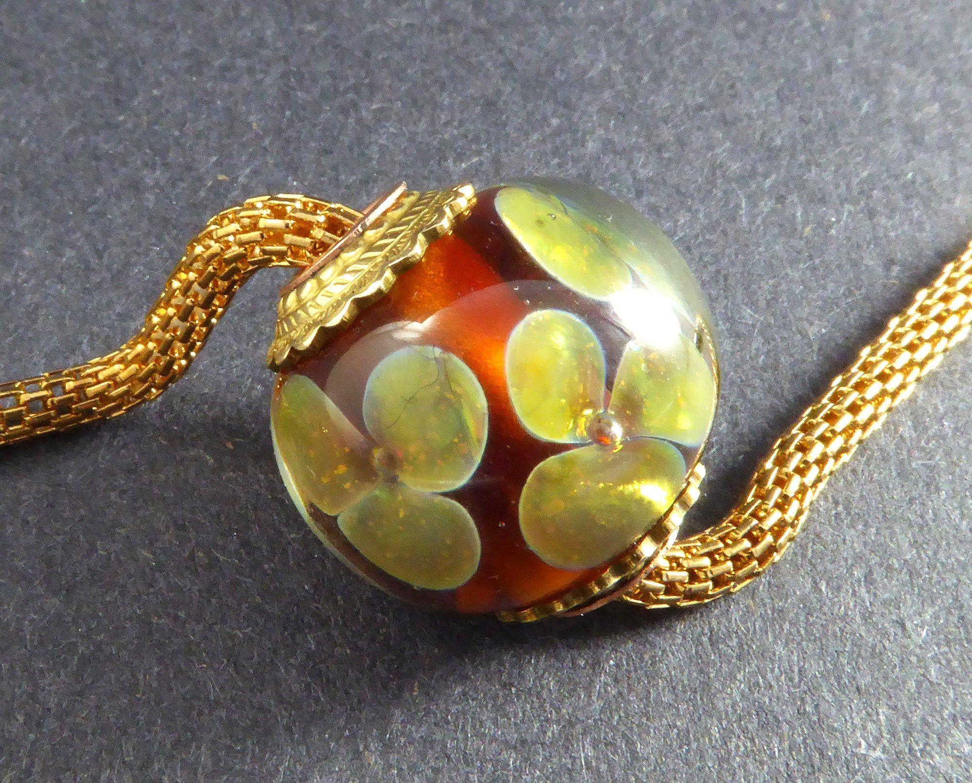OOAK Pink and Amber Yellow Lampwork Glass Beaded Bracelet