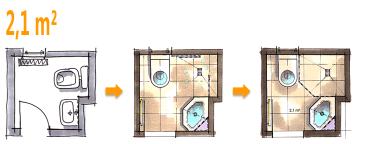 Badplanung Beispiel 2,1 Qm Gäste WC Wird Zum Zweitbad