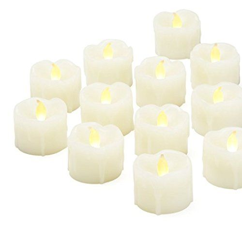 Set of 12 Ivory Wax Drip Tealights with Warm White LEDs and 8
