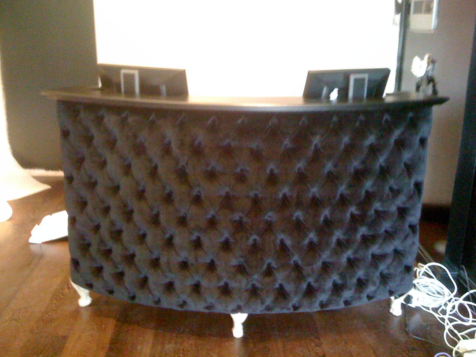 Awesome Popular Black Velvet Tufted Curved Desk For Reception Office Download Free Architecture Designs Rallybritishbridgeorg